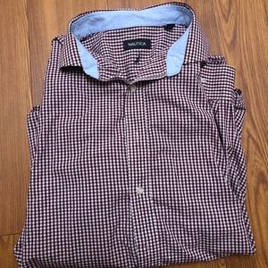 Other - NAUTICA MENS BUTTON DOWN SHIRT XL MAROON
